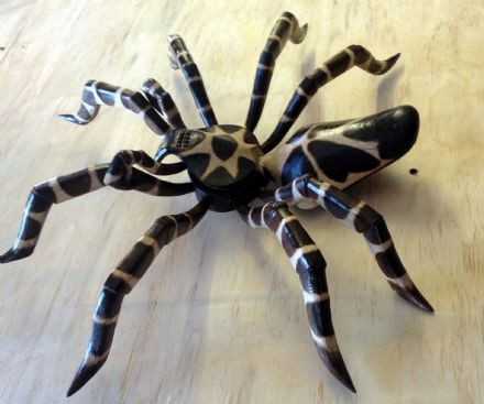 XL Tarantula Spider Hand Carved Wooden Ornament